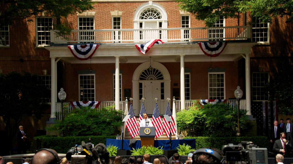 President Obama speaking in front of Old North steps on June 25, 2013