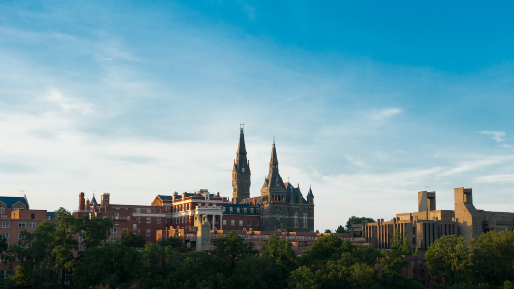 View of Georgetown from the river during sunset
