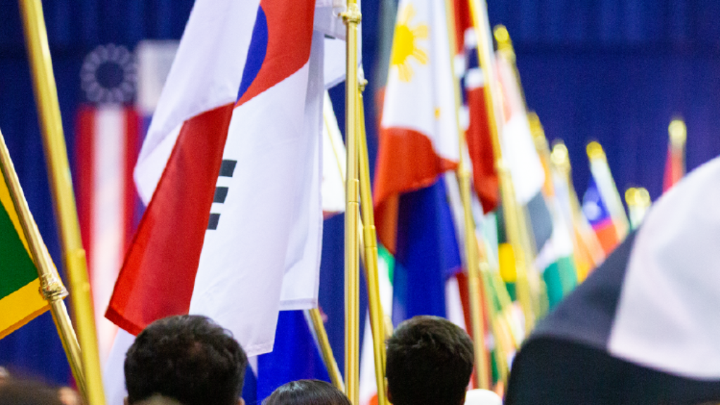 Image of students carrying flags from various countries