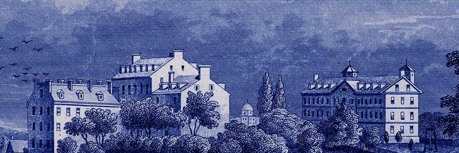 Artistic rendering of Georgetown's campus in the early 1800s.