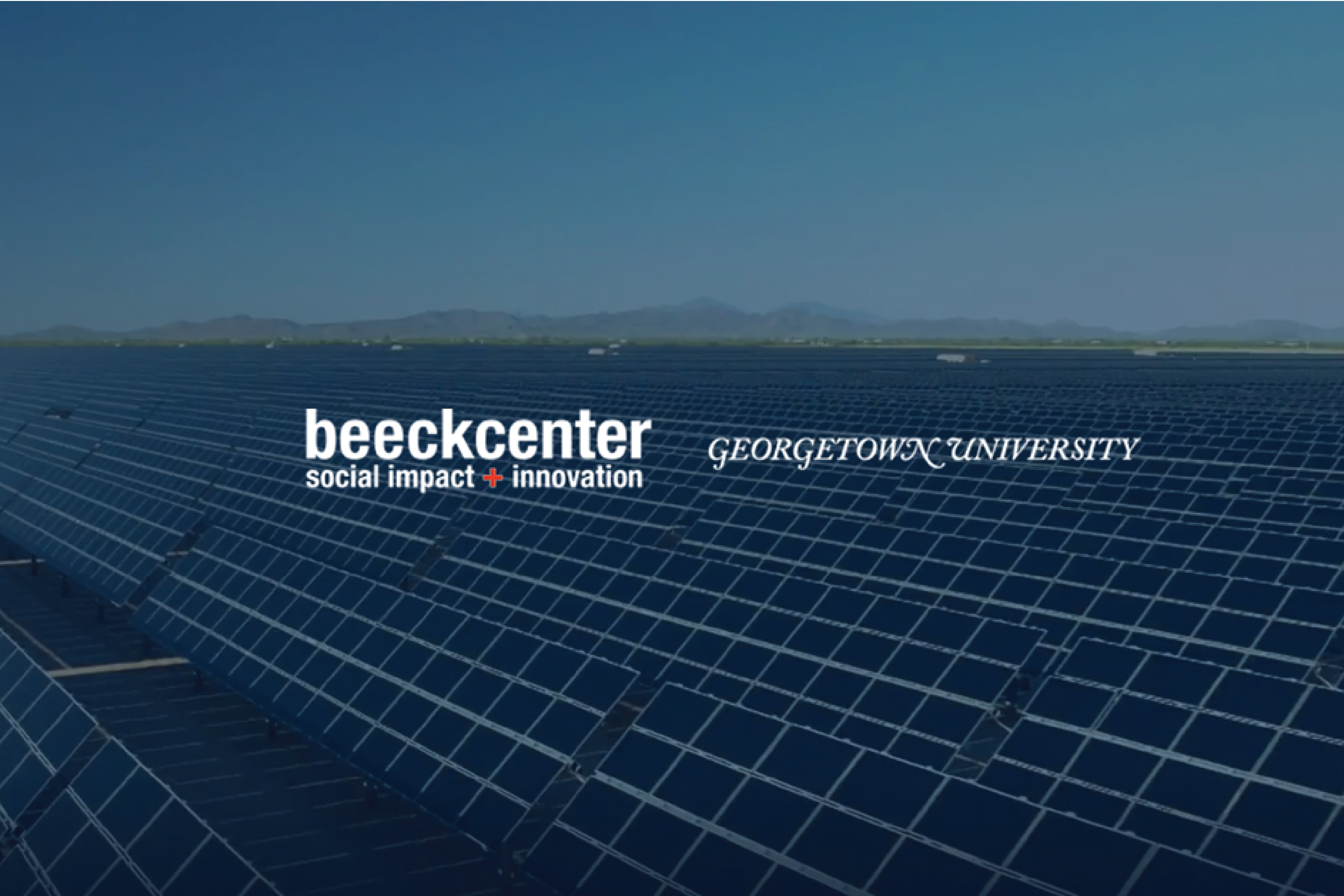 Beeck Center logo with background image of solar farm
