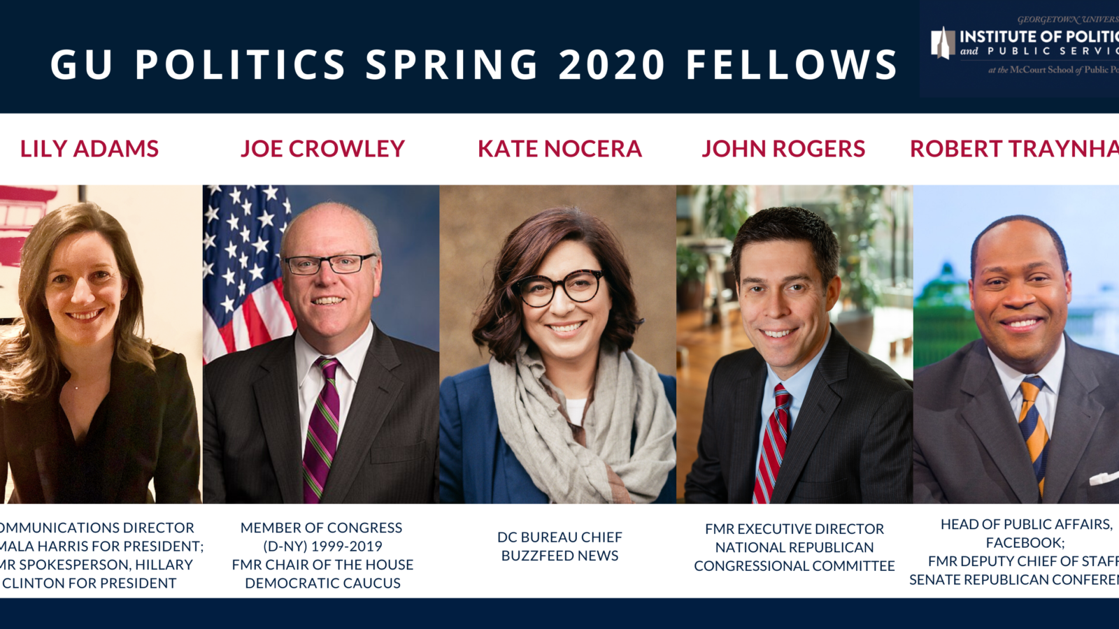 GU Politics will welcome Lily Adams, Joe Crowley, Kate Nocera, John Rogers, and Robert Traynham as fellows.