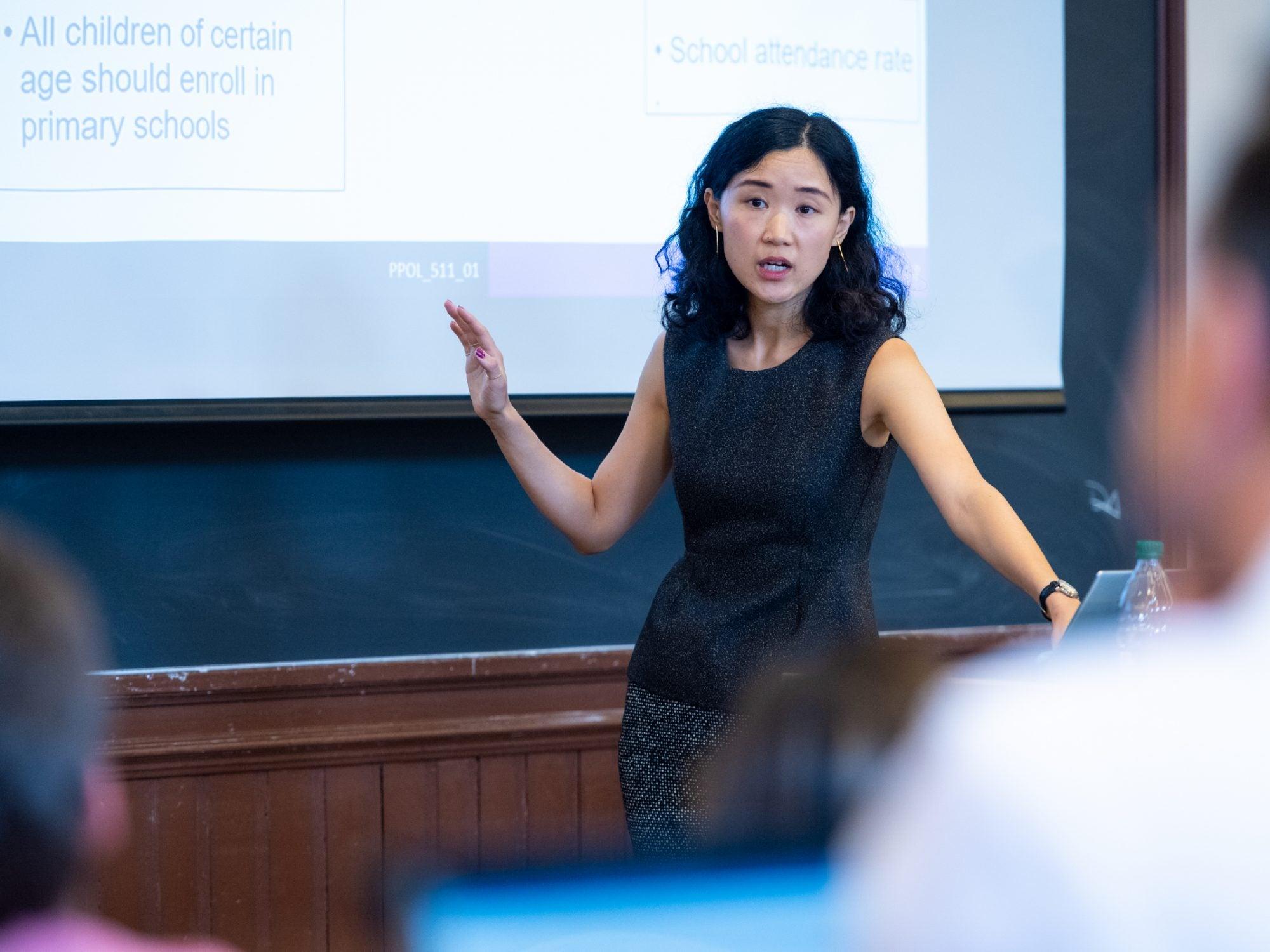 Photo of Ning Leng teaching a class