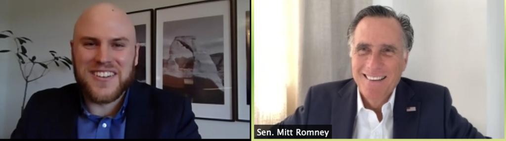 Student speaking with Sen. Mitt Romney