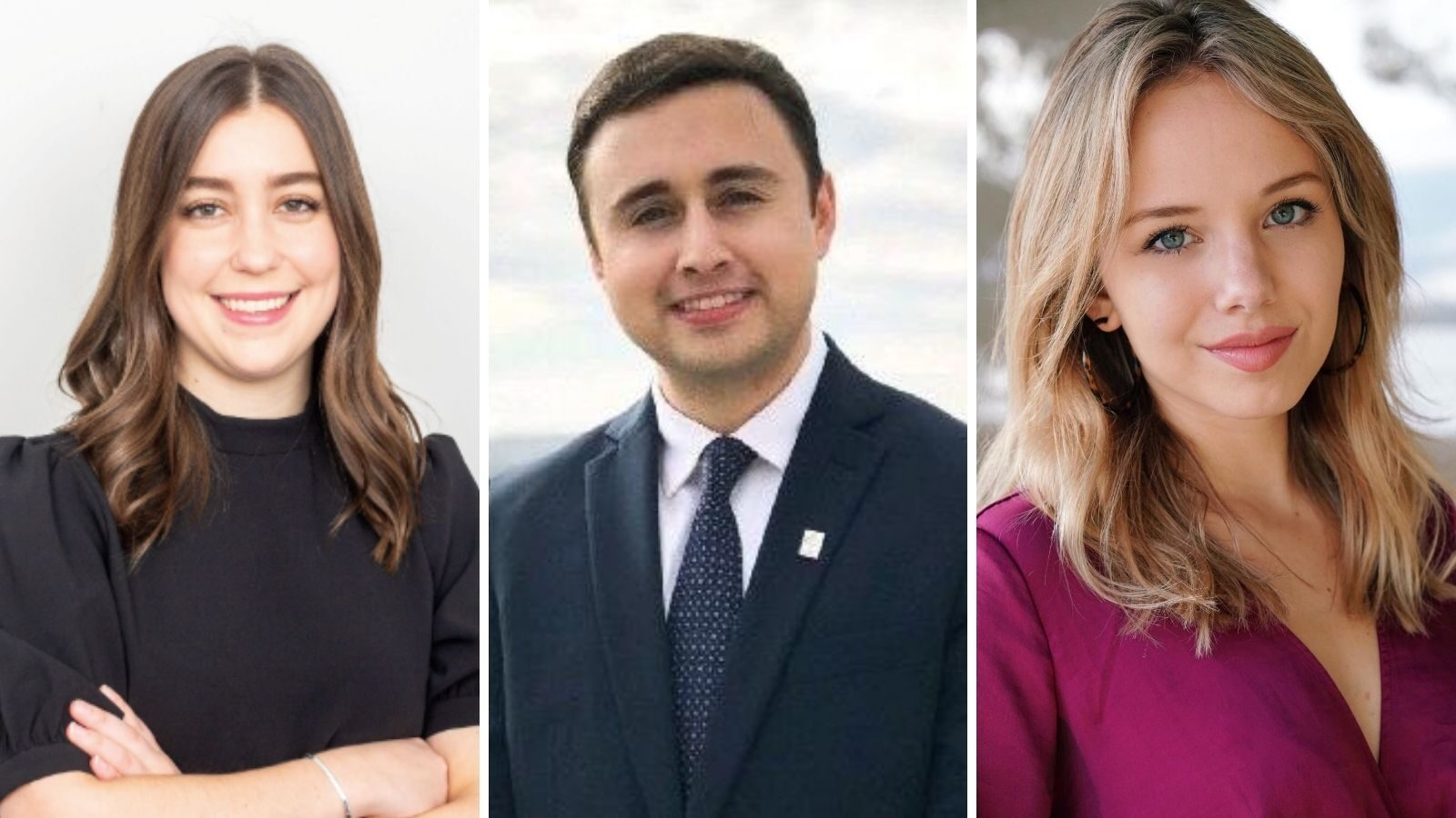 photo of three McCourt students awarded 2020-21 Bryce Harlow Fellowship