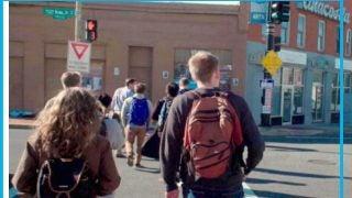 Students walking across the street in Anacostia