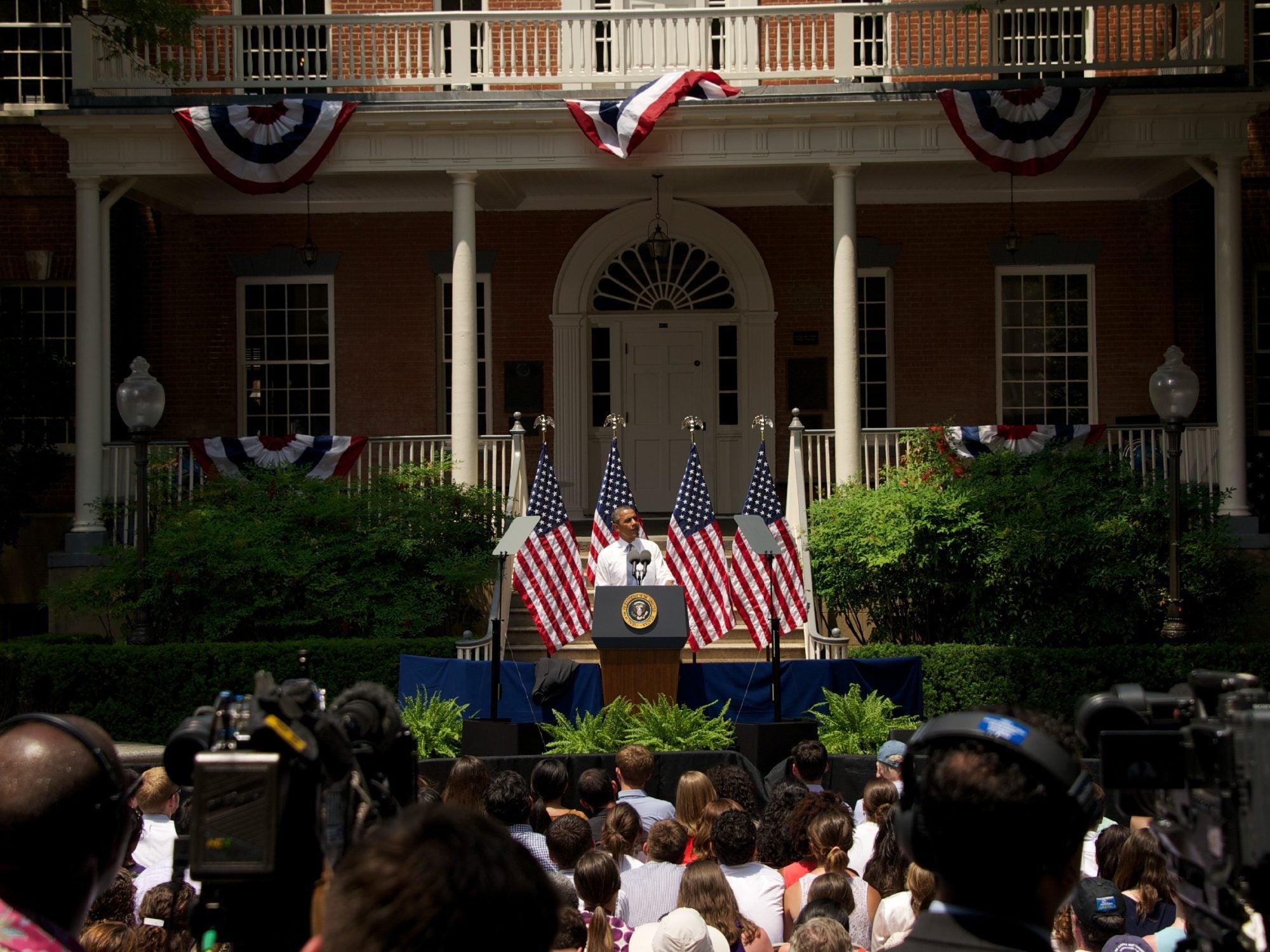 President Barack Obama speaking in front of Old North