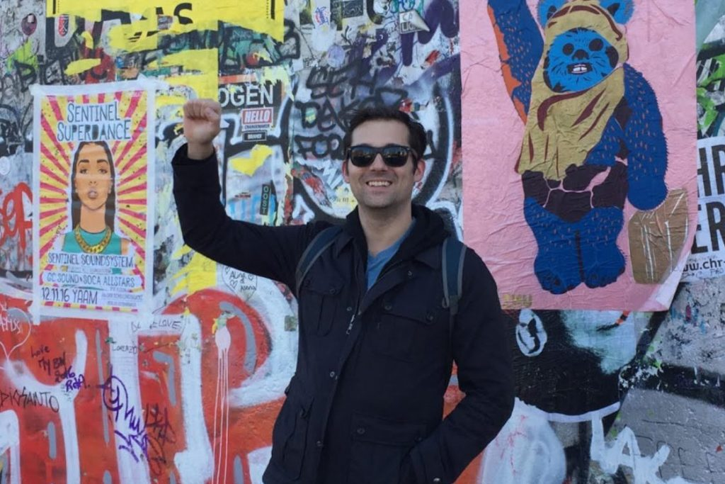 Colin McCollester at the Berlin Wall