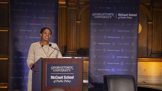 Brooks-LaSure speaking at Georgetown