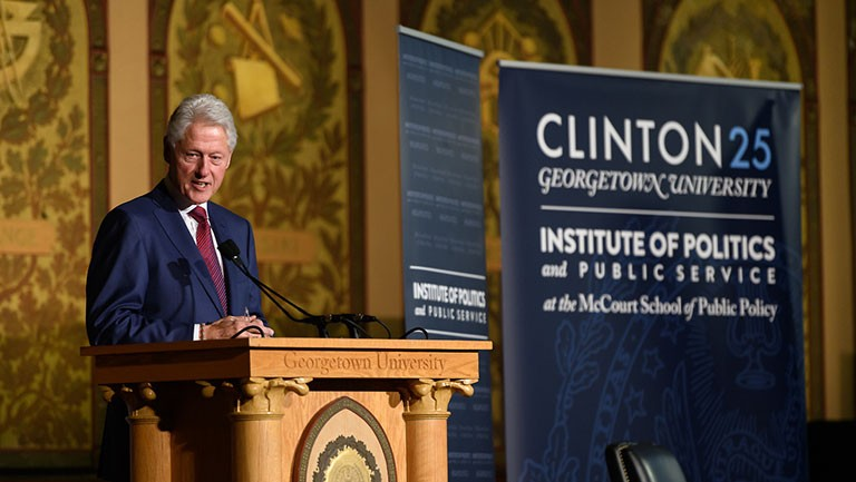 Former President Bill Clinton gives the keynote address at the Clinton 25: Georgetown Reflects On The Vision Of Bill Clinton, hosted by the McCourt School of Public Policy and its Institute of Politics and Public Service
