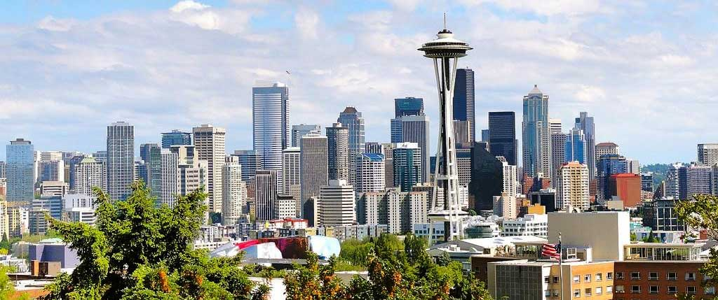 View of Seattle, Washington - Featuring The Space Needle, an observation tower & landmark of the Pacific Northwest